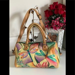 Anuschka dragonfly purse bag crossbody